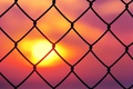 Картинка небо, солнце, закат, фон, сетка, розовый, обои, настроения, забор, ограда, ограждение, wallpaper, sunset, широкоформатные, background, ...
