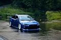 Картинка синий, вода, lancer, evo, Mitsubishi