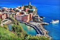 Картинка деревья, пейзаж, природа, город, камни, побережье, дома, лодки, Италия, Italy, Лигурийское море, провинция, Вернацца, Vernazza, ...