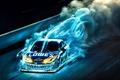 Картинка скорость, синий, монстр, гонка