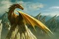 Картинка скала, облака, рисунок, горы, дракон
