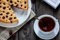 Картинка вишня, пирог, выпечка, книга, чай