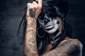 Картинка woman, hair, hands, tattoos, feather, fingers, makeup, hatter, day of the dead