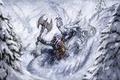 Картинка Фентези, зима, дракон, битва, воин, runelords