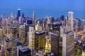 Картинка Чикаго, небоскребы, освещение, дома, Illinois, высотки, город, огни, вечер, Иллинойс, Chicago Loop, здания, USA, США