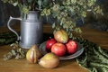 Картинка flowers, fruit, plate, Still life, silver vase
