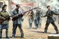 Картинка винтовка Мосина, арт, ППШ, рисунок, soviet militia, Советское ополчение, boxart, ополченцы