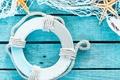Картинка морские звезды, сетка, круг, ракушки