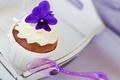 Картинка десерт, сладкое, цветок, фиолетовый, поднос, кекс, пирожное, крем, ложка