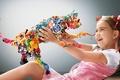Картинка девочка, радость, рендеринг, разноцветный, кот