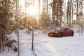 Картинка Jaguar, xkr-s, convertible, ягуар, кабриолет, красный, зима, снег