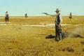 Картинка картина, Robert McGinnis, First Move, индейцы, шериф, небо, прерия