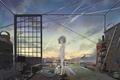 Картинка комната, remosse512, арт, аниме, вещи, девушка, небо, звезды, облака, закат