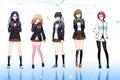 Картинка свобода, отражение, девушки, аниме, арт, форма, школьницы, hakusai, ryugazaki rei, matsuoka rin, hazuki nagisa, free!, ...