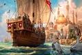 Картинка Anno 1404, краски, корабль, путешествие, прибытие, торговля