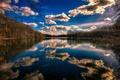 Картинка озеро, пейзаж, небо, облака, деревья, лес