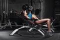 Картинка female, bodybuilder, fitness, gym, workout, dumbbells