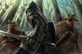 Картинка монстры, меч, арт, воин, доспехи, лес, m-kara