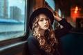 Картинка локоны, девушка, окно, Георгий Чернядьев, шляпка, вагон, Traveler