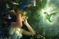 Картинка свет, девушка, маска, Птицы, бриллиант, Bing Xiao