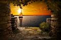Картинка Sunset, lake, cave, sailing