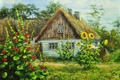 Картинка цветы, забор, картина, домик, живопись, painting, хата