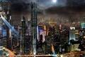 Картинка ночной город, панорама, небоскрёбы, реклама, прожектора