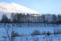Картинка зима, закат, озеро, вечер, березы