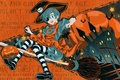 Картинка Kuroshitsuji, halloween, ciel phantomhive, метла, тыквы, летучие, мыши