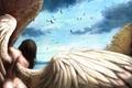 Картинка небо, девушка, крылья