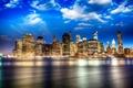 Картинка небо, облака, огни, река, дома, Нью-Йорк, набережная, Сша, Brooklyn Bridge Park