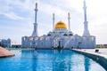 Картинка минарет, мечеть, Астана, люди, фонтан, Казахстан