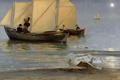 Картинка картина, лодка, люди, море, луна, вечер, жанр, Peder Severin Krøyer, небо, парус