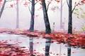 Картинка арт, красные, природа, деревья, artsaus, листья, осень, речка, река