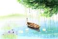 Картинка цветы, дерево, забор, лодка, рисунок, озеро, кувшинки