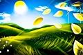 Картинка небо, трава, листья, солнце, пейзаж, природа, холмы
