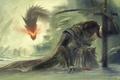 Картинка снег, арт, огонь, воин, skyrim, дракон, меч, скалы, доспех