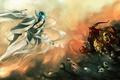 Картинка девушка, магия, противостояние, меч, демон, черепа, призраки, Арт