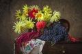 Картинка осень, цветы, виноград, натюрморт, георгин, амарант