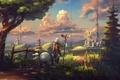 Картинка небо, облака, пейзаж, дерево, мальчик, арт, панда, мельница