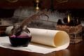 Картинка бумага, перо, свеча, чернила, свиток