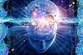 Картинка голова, цифры, матрица, психика. нейроны, думаешь, голлограмы, мысли, шары, синий, модель