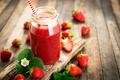 Картинка трубочка, клубника, ягоды, Strawberry, коктейль, смузи, сок, банка, доска, Juice