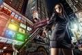 Картинка девушка, город, пистолет
