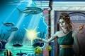 Картинка Подводный мир, Магия, Шатенка, Девушка, Фантастика