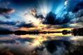Картинка лес, небо, закат, озеро
