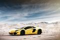 Картинка золотистый хром, Project AU79, Chrome gold, отражение, горы, Ламборджини, Lamborghini, LP700-4, Aventador, LB834, Ламборгини, небо, ...