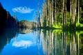 Картинка небо, озеро, отражение, горы, деревья