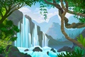 Картинка водопад, деревья, вода