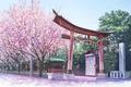 Картинка провода, веревка, ворота, дорога, сакура, храм, забор, цветение, Красные